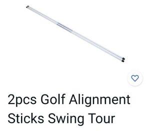 2 Stück Toursticks - Golf Alignment Sticks-Trainings Hilfe Weiss 115cm