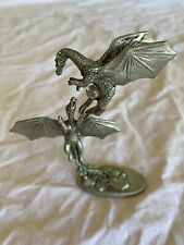 1988 Gallo Pewter Dragons Fighting Over a Crystal Ball Figurine by J. Guthrie