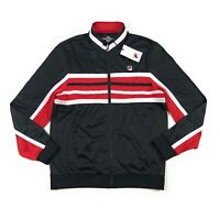 Fila Montana Mens Size XL Full Zip Black Red White Striped Track Jacket