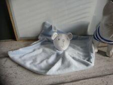 Doudou plat ours blanc bleu ciel etoiles Primark baby etat neuf