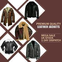 Leather Jacket Mens Flying Aviator Flight Brown Coat Bomber Black RAF B3 Ginger