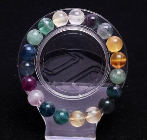 10.5mm Natural Color Fluorite Quartz Crystal Square Beads Bracelet AAA