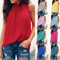 Women Summer Floral Blouse Solid Sleeveless Casual Tunic Top Tank Shirt Vest UK