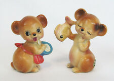 Josef Originals Mini Mama Bear with Porridge Bowl & Papa Bear with Fish Figurine