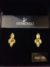 BNIB AUTH SWAROVSKI GOLDEN  4 MARQUISE SHAPED CLUSTER CRYSTAL PIERCED EARRINGS