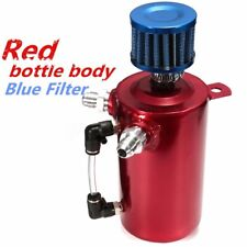 Universal Alloy Car Engine Oil Catch Can Tank Reservoir Breather Filter Red ; +