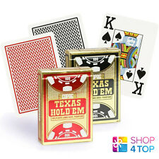 2 DECKS COPAG TEXAS HOLD'EM JUMBO INDEX 100% PLASTIC POKER CARDS - 1 RED 1 BLACK