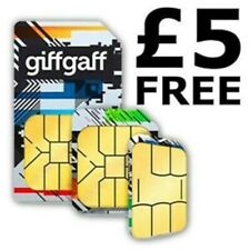 Giffgaff Giff Gaff Nano/Micro/Standard 3 in 1 SIM con 5 £ di credito se attivata