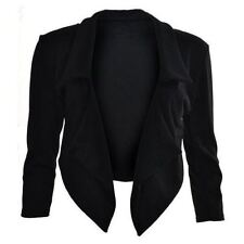 Womens Ladies Girls Long Sleeve Waterfall Cropped Blazer Coat Jacket Top UK 8-26