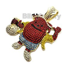 HIP HOP ICED OUT BLING LAB DIAMOND GOLD PLATED MONEY BAG KOOL AID MAN PENDANT