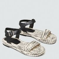 SEED Peggy Contrast Platform Leather Woven Sandals Black White Size 38 / 7
