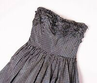 Vintage 80s metallic plaid striped strapless ruffle pleated glam cocktail dress