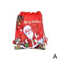 1Pcs Non-woven Christmas Santa Claus Strings Drawstring Bags 2019 Red Xmas Q7S3