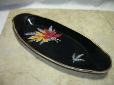 VINTAGE PALISSY ENGLAND RED MAPLE CELERY DISH BEAUTIFUL GOLD ACCENT