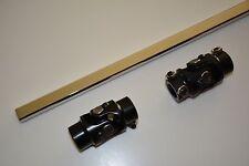 """GM Box 2 POLISHED U Joint 12"""" Polished Steering Shaft 1""""DD + 3/4""""-30 X 3/4""""DD"""