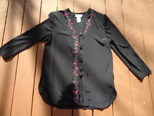 Womens SG Sport Collection Black Silky Jacket Red & Blue Flowers Front Med 10/12