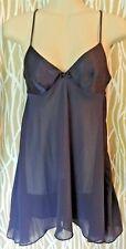 Victoria's Secret Blue Satin Sheer V Neck Babydoll Chemise Gown Lingerie XSmall