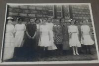 Antique Group Class Portrait Photo All Young Girls School Victorian