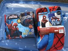 Spiderman Twin Sheet Set And Big Blanket Throw