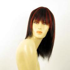perruque femme 100% cheveux naturel long méchée noir/rouge KOKO 1b410