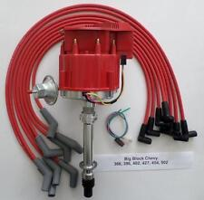 BIG BLOCK CHEVY RED Super Cap HEI Distributor & SPARK PLUG WIRES 45 DEGREE BOOTS
