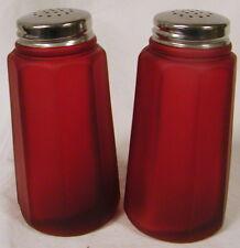 Ruby Satin Glass Paneled Salt & Pepper Shaker Set