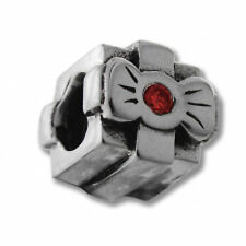 European Bead Sterling Silver Charm-Gift Box w/Red CZ