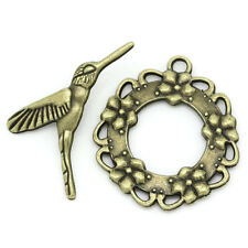 5 sets - Antique bronze toggle clasp with hummingbird fastening closure