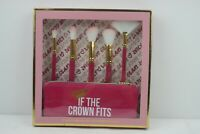Juicy Couture 5 Pc Brush Set & Cosmetic Case- Pink/Gold
