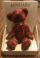 Miniature Jointed Teddy Bear ~ January Birthstone Garnet ~ Russ Berrie Nib