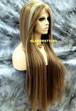Human Hair Blend Straight Layered Ash Blonde Mix Lace Front Full Wig Hair Piece