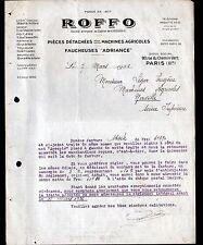 """PARIS (XI°) OUTILS & PIECES détachées de MACHINES AGRICOLES """"ROFFO"""" en 1936"""