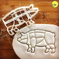 Pig cookie cutter | Butcher's guide pork cuts | chef chart kitchen meat diagram