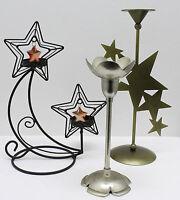 3 Verschiedene Stab-Teelicht-Tafel-Kerzen-Halter Goldfarben Edelstahl Sterne TOP