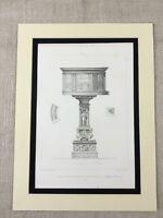 1857 Antique Print Architectural Church Font Cathedral  Pistoia Prato Italy Art