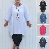 Pure Plus Lagenlook Tunic Top Women's  Linen 16 18 20 22 24 26 28 30 32 New 9479