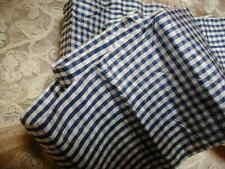 "Antique French Silk Taffeta Ribbon Blue & Cream Checks 3 3/4"" W Edwardian Exclnt"