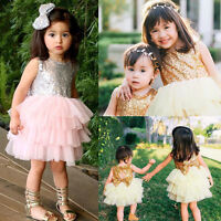 Flower Girl Sequin Bow Tutu Dress Toddler Baby Princess Party Wedding Tulle Gown