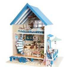 New DIY Aegean Sea Doll House LED Dollhouse Cabin Miniature Kit Christmas Gift