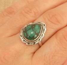Genuine Turquoise Sterling Silver Ring UK Size O-US 7 1/4 Indian Jewellery