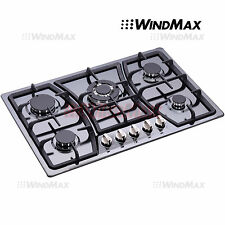 """WINDMAX 30"""" Black Titanium Stainless Steel Built-In 5 Burners Stove Gas Cooktops"""