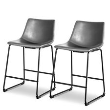Set of 2 Vintage PU Leather Barstools Counter Height Stools w/ Metal Legs Gray