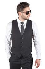 Men's Dress Suit Vest 5 Button V Neck Adjustable Back Strap Formal By AZAR MAN