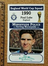 England World Cup Football 1990 Paul Lake Manchester City card Merseyside Police
