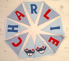 Boys Personalised Car Bunting Banner Baptism Christening Gift New Baby Present