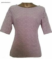 BN STUNNING M&S PER UNA PINK CIRCLE LACE PATTERN TOP BLOUSE TUNIC SIZE 8 ~ 22