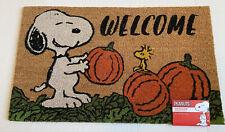 Peanuts Snoopy Fall Pumpkin Halloween Mat Coir Fiber 18×28 Outdoor Welcome NWT