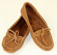 Minnetonka Womens Moccasins 7 Air Holes Brown Suede Hard Soles Halloween Costume