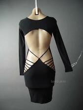 Black Cage Open Back Backless Celeb Celebrity Style Club Evening 120 ac Dress M
