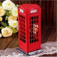 Vintage London Style Phone Booth Saving Coin Piggy Money Bank Christmas Gift
